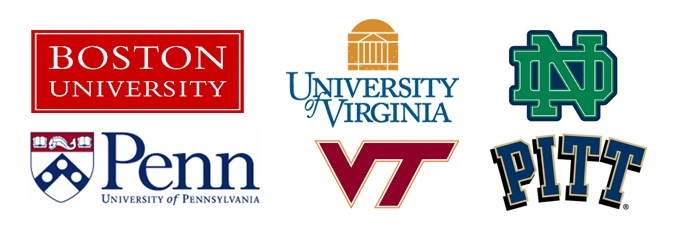 Logos of graduate schools attended by Roanoke alumni: Boston University, University of Virginia, University of Pennsylvania, Virginia Tech, University of Pittsburgh, Notre Dame
