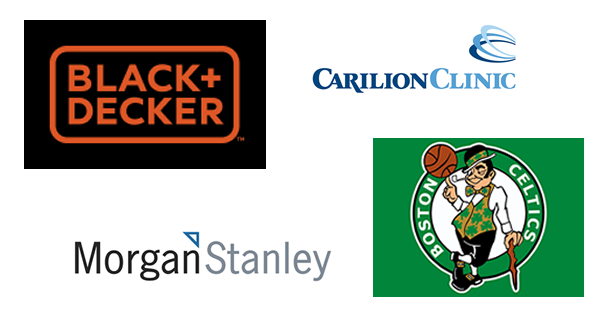 Logos of companies where students intern: blacl + decker, carilion clinic, boston celtics, morgan stanley