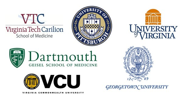 Logos of graduate schools attended by alumni: Virginia Commonwealth University, Darmouth, Georgetown University, University of Virginia, Virginia Tech Carolion, University of Pittsburgh
