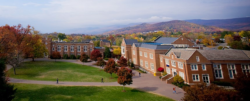 Overhead shot of the back quad and Colket center
