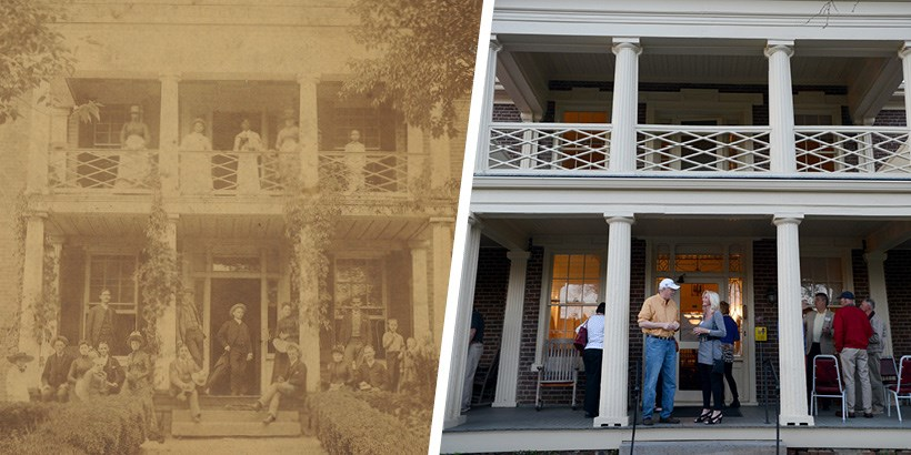 A photo of the Monterey house in 1898 next to a photo of the monterey house in 2015