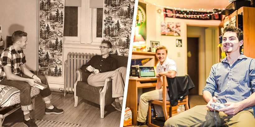 A photo of Dorm life in the 1950s next to a photo of dorm life today