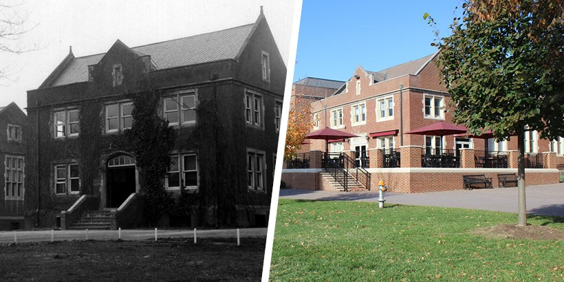 A photo of the Commons and Lab-Theater in the 1930s next to a photo of the Commons