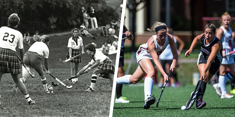 A photo of field hockey in the 1980s next to a photo of field hockey today