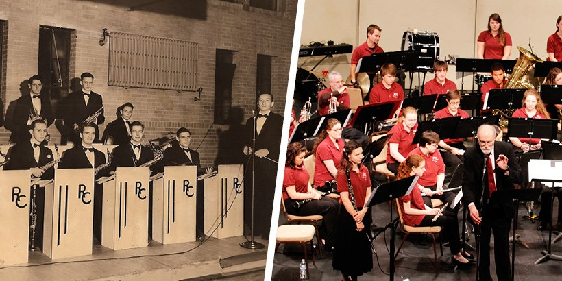 A photo of the collegians orchestra in 1941 next to a photo of the jazz and wind ensemble in 2016