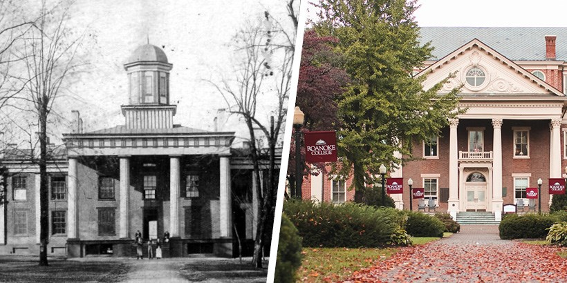 A photo of the administration building in the 1890s next to a photo of the administration building now