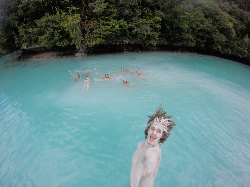 Student jumping into the Milky Way Lagoon
