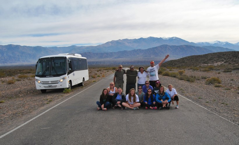 Students in front of the Andes Mountains
