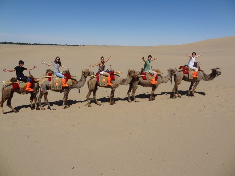 Students riding on camels with their professor