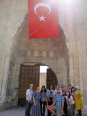 A group of students in Turkey with their professor