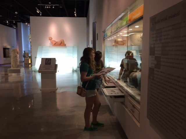 Students looking at artifacts in a museum
