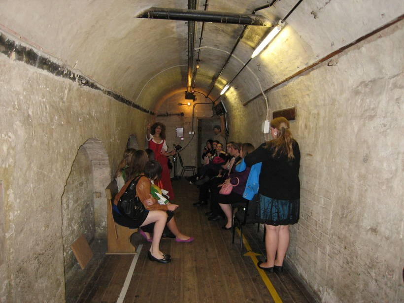 Students in a tunnel underground