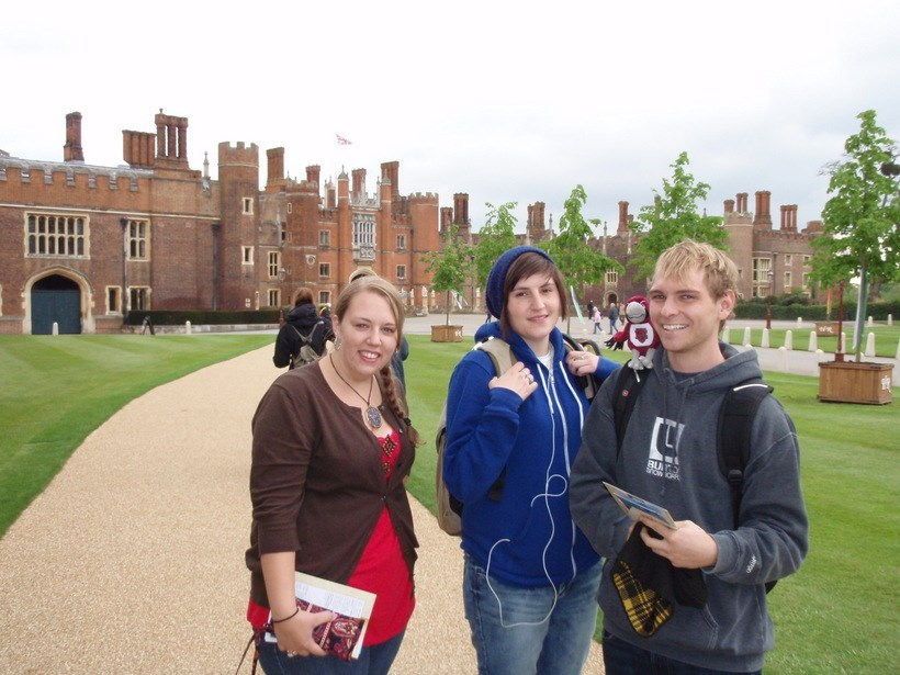 Students in front of a large building in England