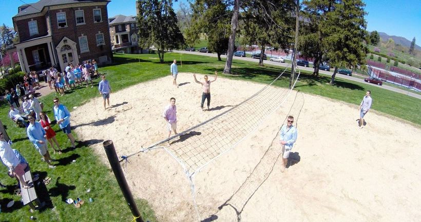 Volleyball game on the volleyball court of Elizabeth Campus.