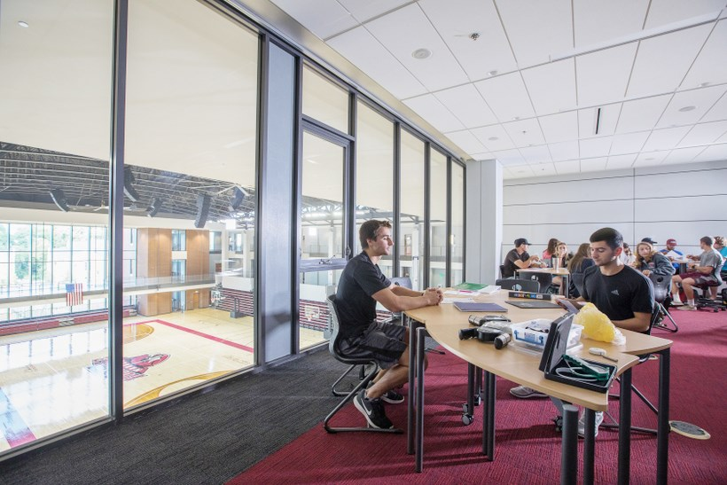 Students working in the Cregger Center academic lounges