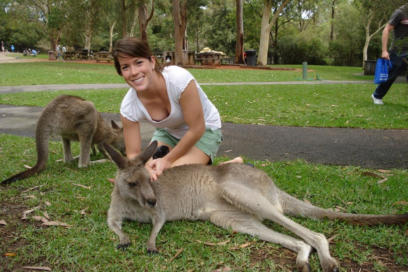 Student with two kangaroos