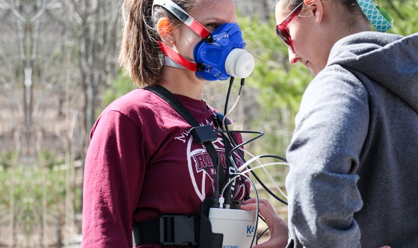 Student uses portable equipment for measuring metabolic response to hiking on the Appalachian Trail