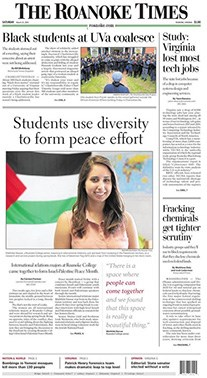 "Front page of The Roanoke Times, headline reading, ""students use diversity to form peace effort"""