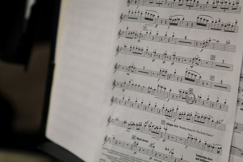 Closeup of a piece of sheet music