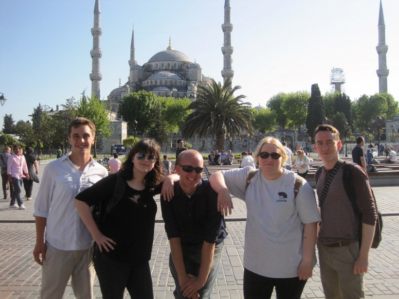 Roanoke students and their professor infront of the Hagia Sophia