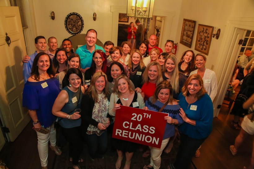 Alumni celebrate their 20th Class Reunion in the Maxey's Foyer.