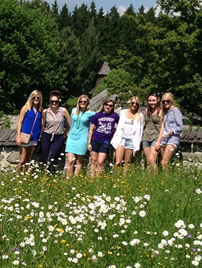 Students in a field in Slovakia
