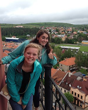 Two students on a balcony in Slovakia