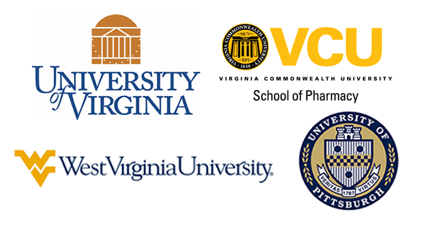Logos of: Virginia Commonwealth University, West Virginia University, University of Virginia, and University of Pittsburgh