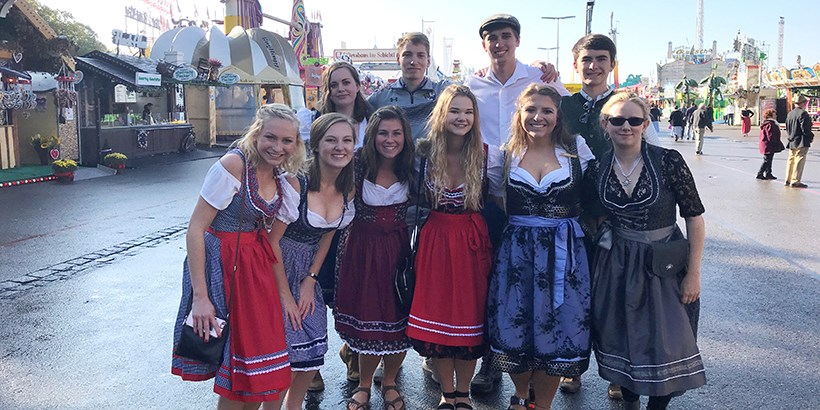 Students dressed up for Oktoberfest