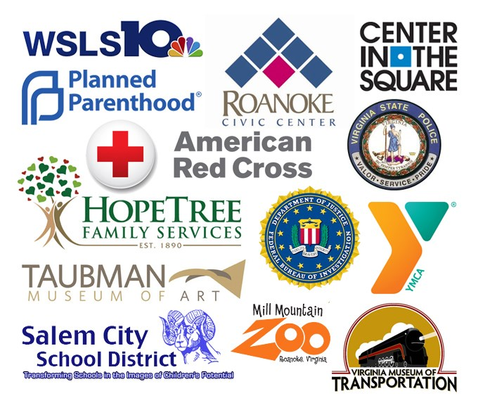 Logos of: WSLS10, Roanoke Civic Center, Planned Parenthood, Center in the Square, Red Cross, HopeTree Family Services, Virginia State Police, FBI, YMCA, Salem City School District, Taubman Museum of Art, Mill Mountain Zoo, and Virginia Museum of Transportation