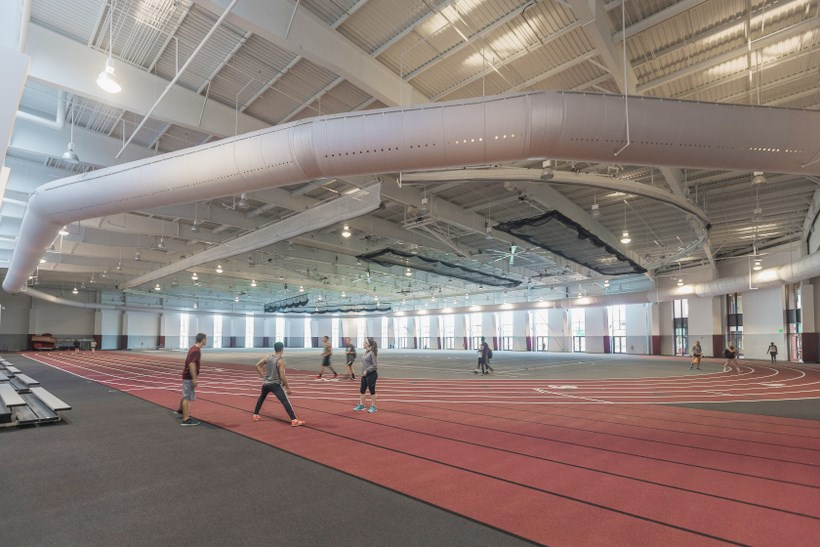 The indoor track in the Cregger Center