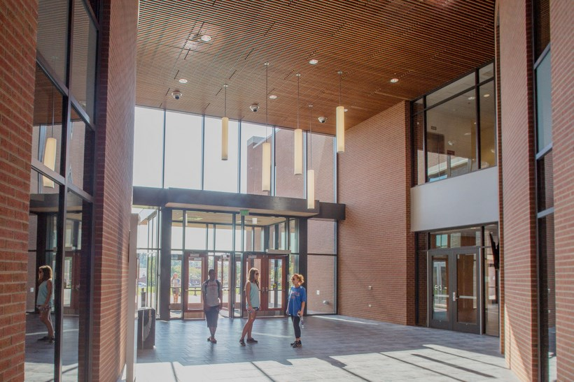 A picture of the lobby of the Cregger Center