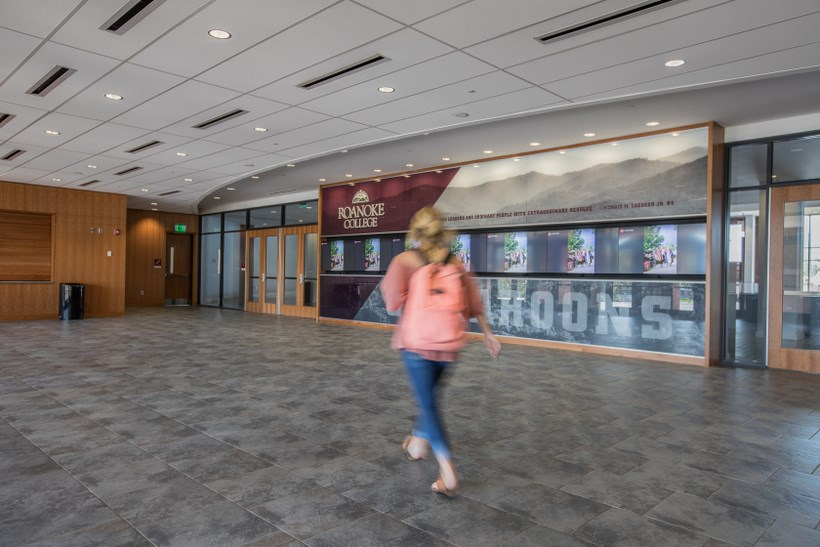 A student walks around Cregger Center