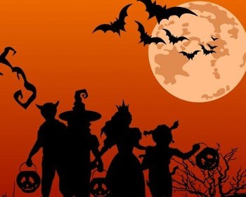 An orange background with black silhouettes of trick or treaters and a tree with no leaves. Bats and the moon are in the sky