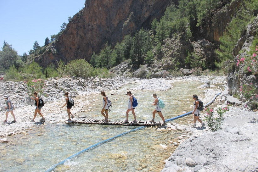 Students crossing a river