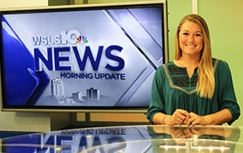 A student at her WSLS10 news internship