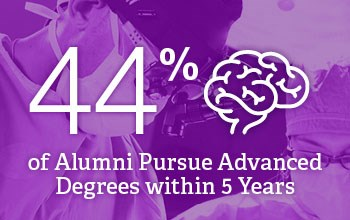 A purple background with the number 44% and a brain representing alumni that pursue advanced degrees