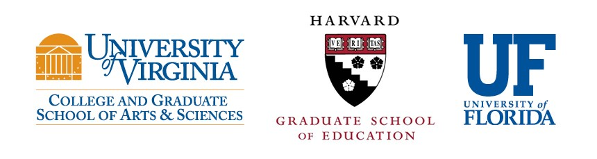 Logos of graduate schools attended by Roanoke alumni: University of Virginia, Harvard Graduate School of Education, University of Florida