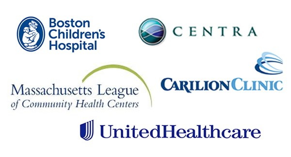 Logos of organizations where alumni work: Boston Children's Hospital, Centra, Carilion Clinic, Massachusetts League of Community Health Centers, United Healthcare