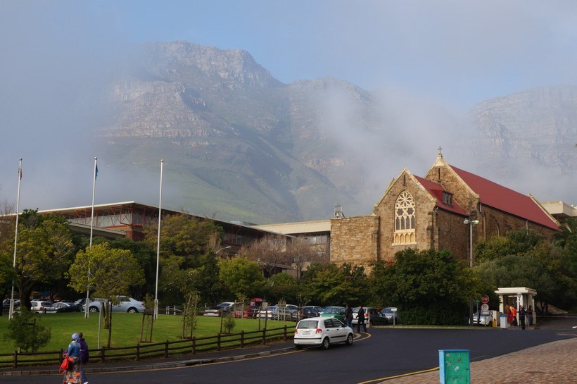 Church by a mountain range in South Africa
