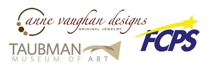 Logos of organizations where alumni work: Anne vaughan designs, Taubman museum of art, FCPS