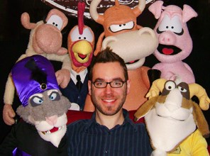Philip Hatter with puppets from Thistledown Puppets