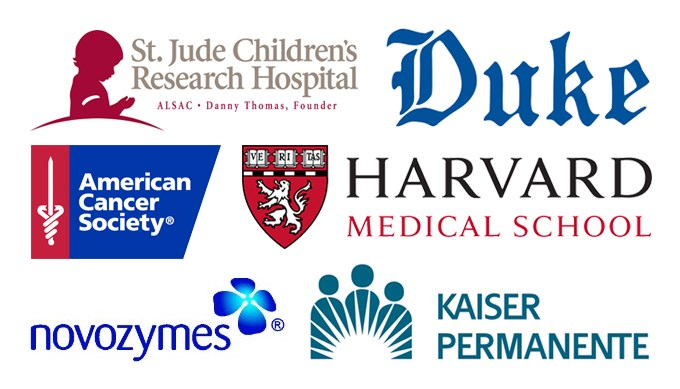 Logos of organizations where alumni work: St. Jude Children's Research Hospital, American Cancer Society, Duke, Harvard Medical School, novozymes, Kaiser Permanente