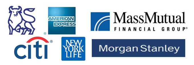 Logos for organizations where alumni work: American Express, citi bank, massmutual financial group, morgan stanley, new york life, merrill lynch