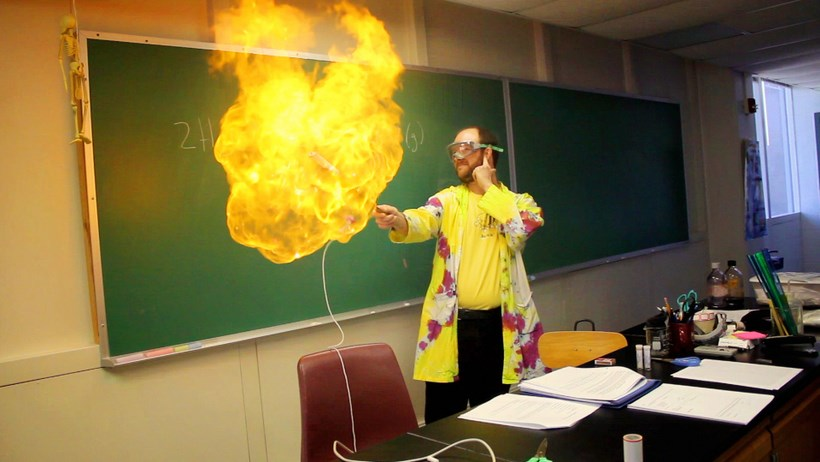 Professor experimenting with fire