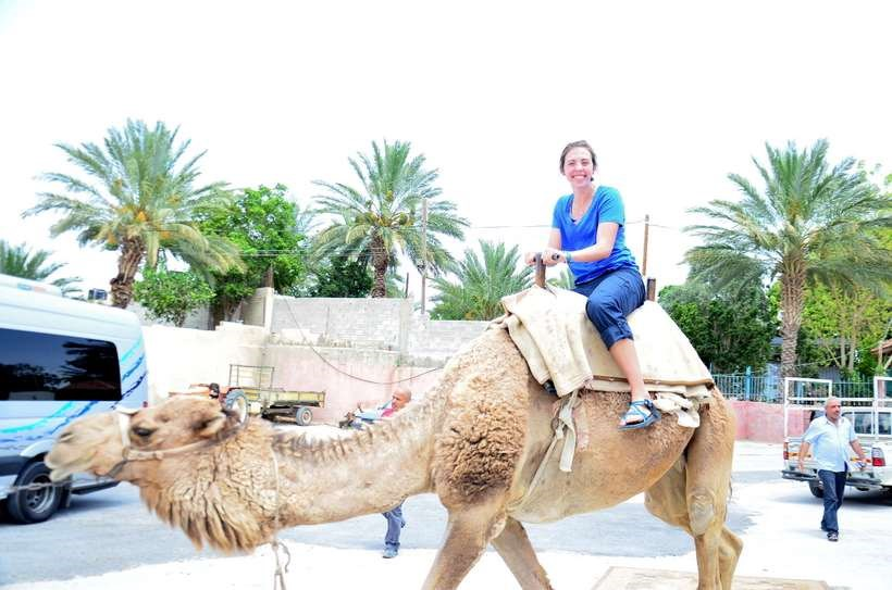 Student riding a camel