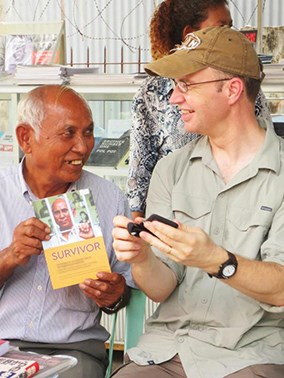 Professor with an author from Cambodia