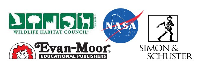 Logos for organizations that graduate students work at: wildlife habitat council, NASA, simon & schuster, evan-moor educational publishers