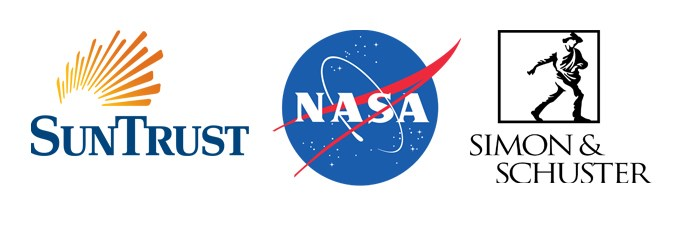 Logos for organizations where alumni work: SunTrust, NASA, and Simon&Schuster