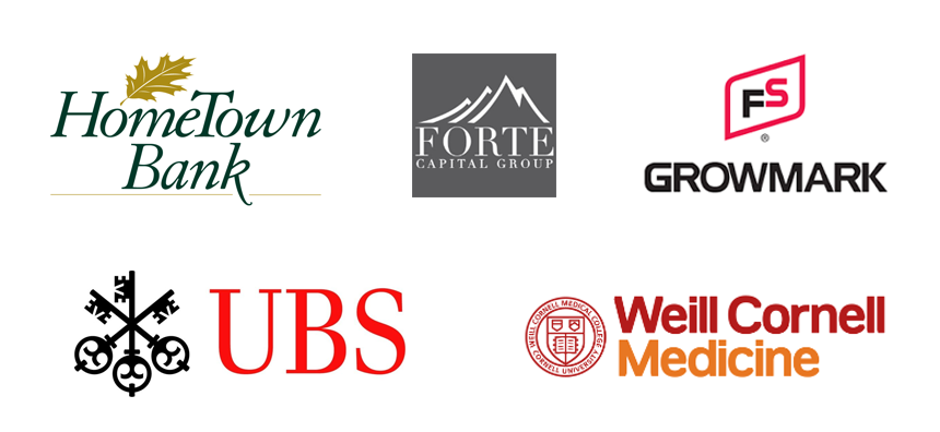 Logos of organizations where students intern: HomeTown Bank, Forte Capital Group, FS Growmark, UBS, Weill Cornell Medicine
